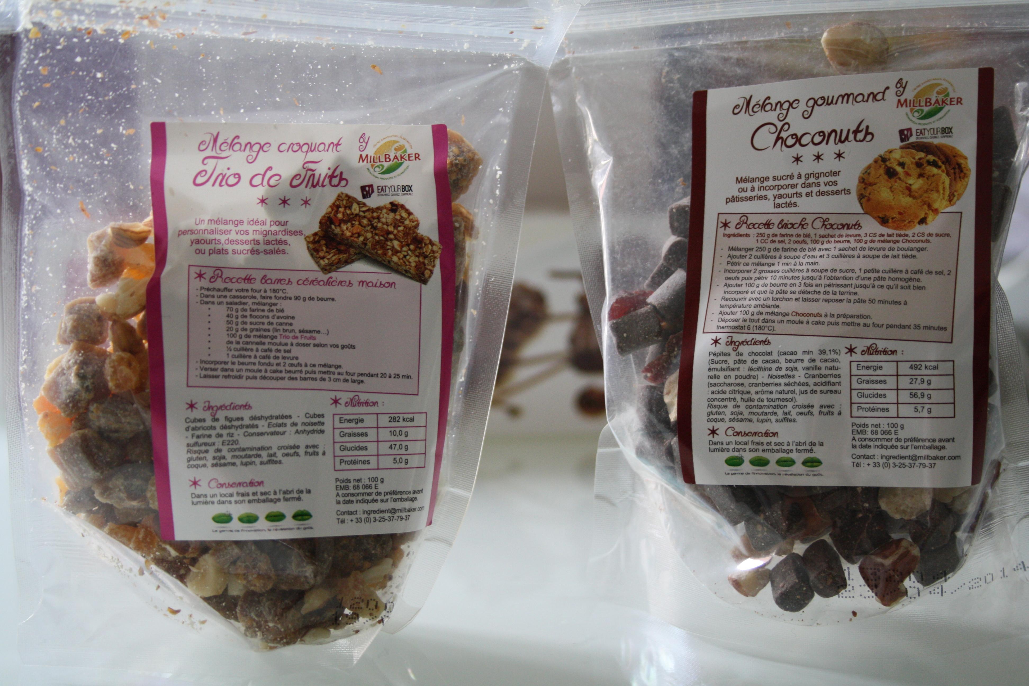 2 sachets : 1/ Choconuts, 100g de pépites de chocolat, éclats de noisettes et cranberries 2/ Trio de fruits séchés, abricots, figues et éclats de noisettes